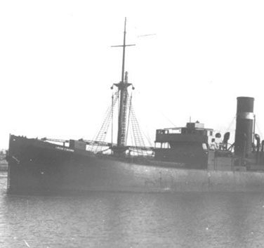 Black and white photo of war ship